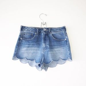 H&M Scalloped Denim Shorts